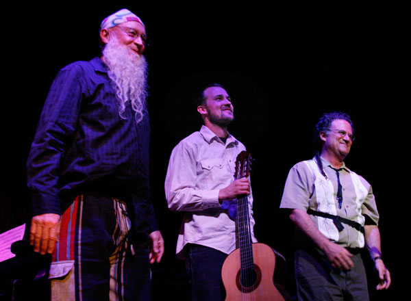 Terry Riley, Gyan Riley and George Brooks at Terry Riley's 75th Birthday Bash, Gualala Arts Center, June, 2010