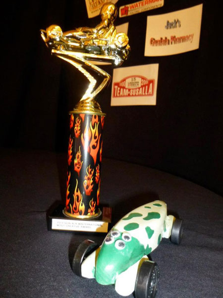 Most Creative Car trophy and racercar by Jeremy Crockett