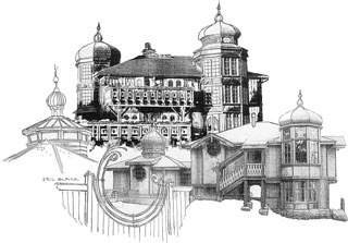 St. Orres buildings, drawing by Eric Black