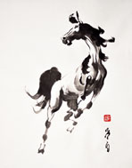 Looking into the year of the horse, painting by Yeh Fei Pai