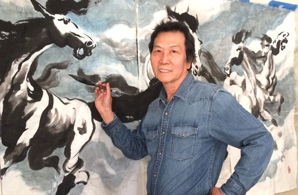 Yeh Fei Pai in his studio
