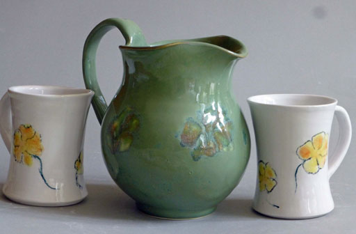 Rutile green pitcher and cups, by Brenda Phillips