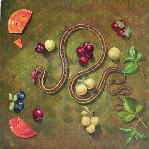People's Choice Award, Third Place: Snake and Plums by Roberta Tewes