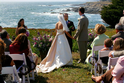Wedding ceremony on the nearby Sonoma-Mendocino coast bluff