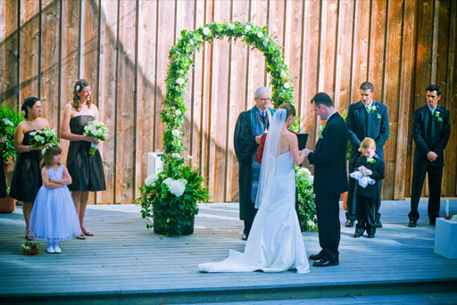 Wedding ceremony in the Gualala Arts Center amphitheater