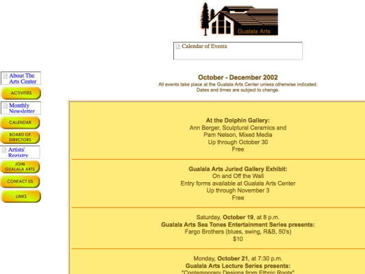 Events page, 2001