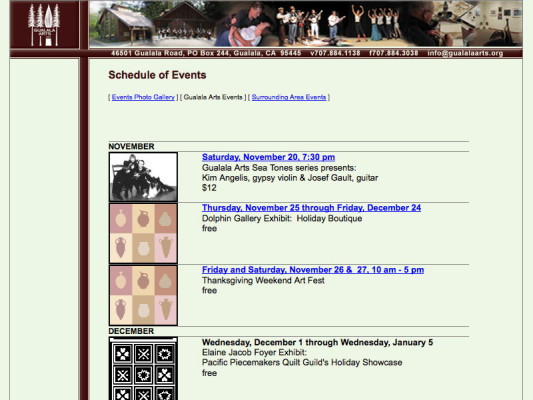 Events page, 2004