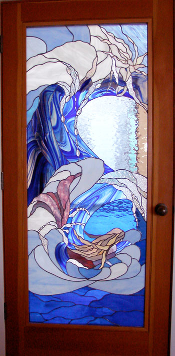 Stained glass, ocean scene, by Star DeHaven