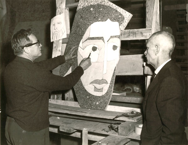 Millard Sheets at work on Notre Dame Mural Panel